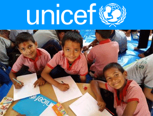 Unicef logo and children